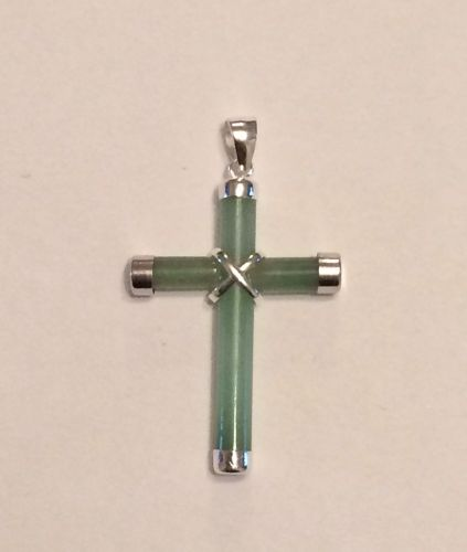 Jade and silver Cross pendant