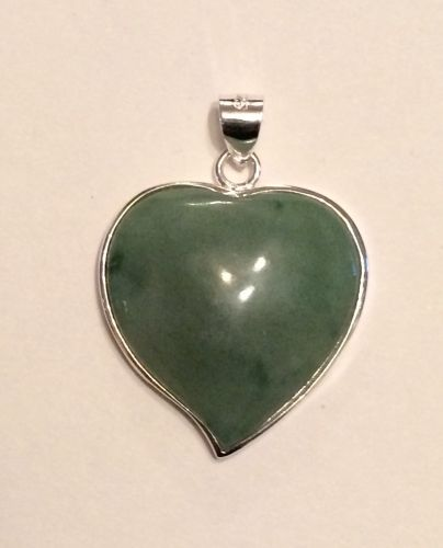 Jade and silver heart pendant