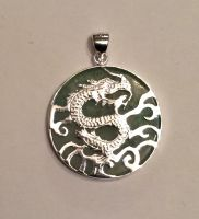 Jade and silver Dragon pendant (2)