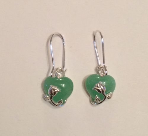 Jade and Silver earrings with silver rose