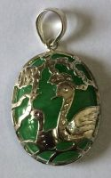Pair of Birds, jade pendant with silver & Silver Chain