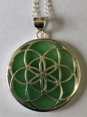 Seed of Life pendant, with jade and silver & Silver Chain