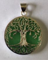 Tree of Life pendant, jade with silver