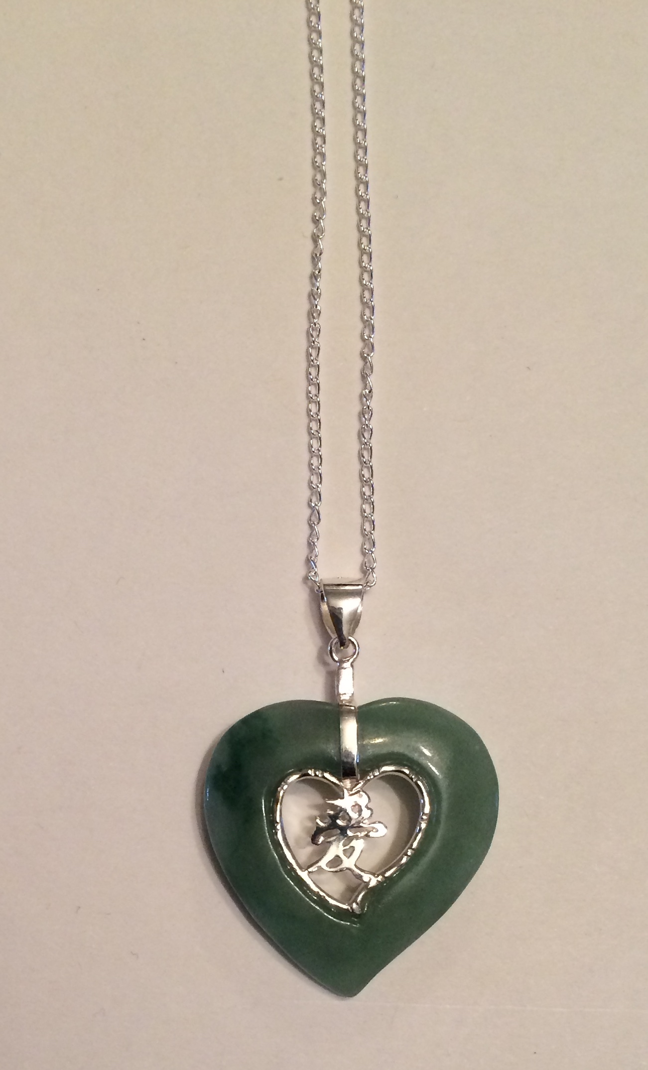 Jade And Silver Heart Pendant With Chinese Character Happy Dragon