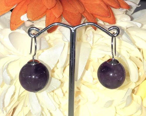 12mm Amethyst  Bead Earrings with 925 Sterling Silver Hook