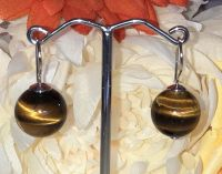 12mm  Tigers Eye Bead Earrings with 925 Sterling Silver Hook