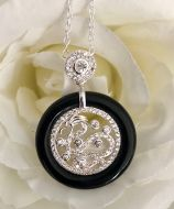Dragon Pendant with Silver Chain and Onyx