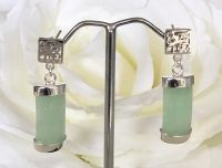 Oblong Jade Earrings with Good Fortune Symbol in Silver