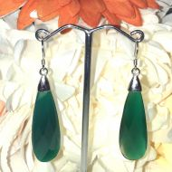 Green Agate Earrings with Sterling Silver Fittings