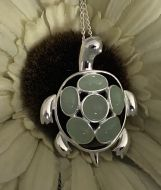 Green Jade and Silver Turtle Pendant
