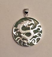 Jade and silver Dragon pendant (2)