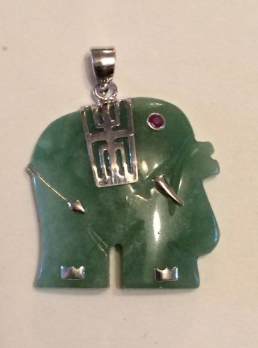 Jade and silver elephant pendant