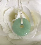 Jade Donut Pendant with Silver Chain
