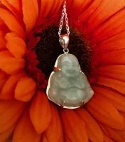 Natural Green Jade Happiness Buddha Pendant