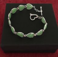 Green Jade Heart and 925 Silver Bracelet