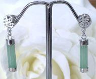 Jade/Silver Good Fortune Earrings