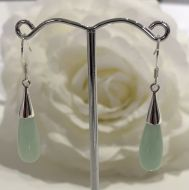 Jade Teardrop Earrings with 925 Sterling Silver Hook