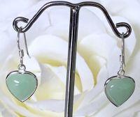 Jade/Silver Heart Earrings