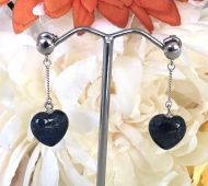Lapis Heart Shaped Earrings with 925 Sterling Silver Fittings