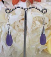 Lavender Jade Teardrop Earrings with Silver Hook