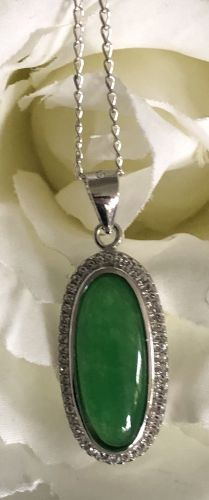 Long Oval Shape Enhanced Imperial Jade Pendant