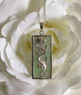 Oblong Jade and Silver Dragon Pendant with Silver Chain