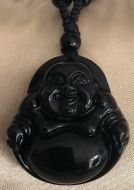 Large Obsidian Happiness Buddha Pendant with Glass Beads Necklace