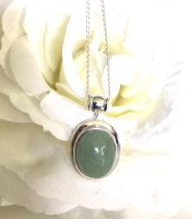 Oval Jade Pendant with Silver Chain
