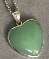 Plain Green Jade Heart Pendant with Silver