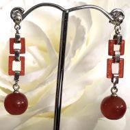 Red Jade (enhanced) earrings with 925 Sterling Silver