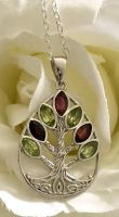 Silver Tree of Life Pendant with Peridot