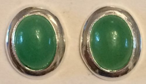 Jade and silver earrings